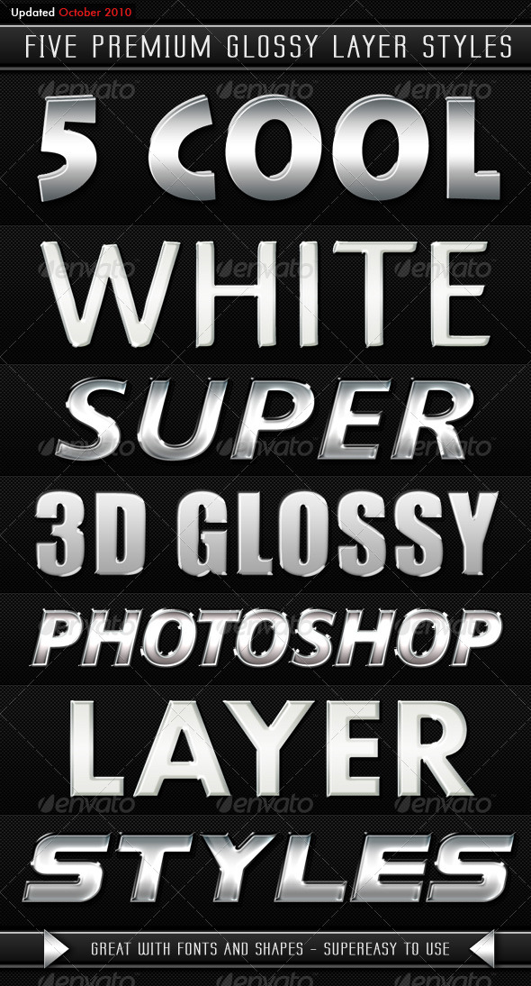 White Modern 3D Glossy Layer Styles - Photoshop Add-ons