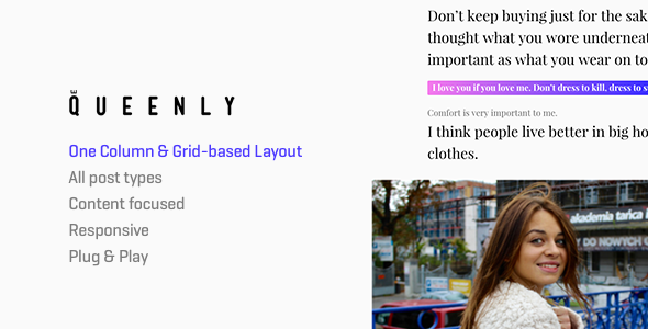 Queenly - Grid & One Column (2in1) Tumblr Theme