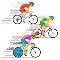 Cyclists in bicycle racing. characters flat design style