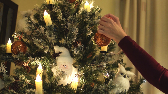 Placing a Christmas Ornament on Tree