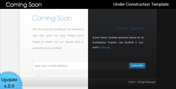 Coming Soon - Under Construction Specialty Pages