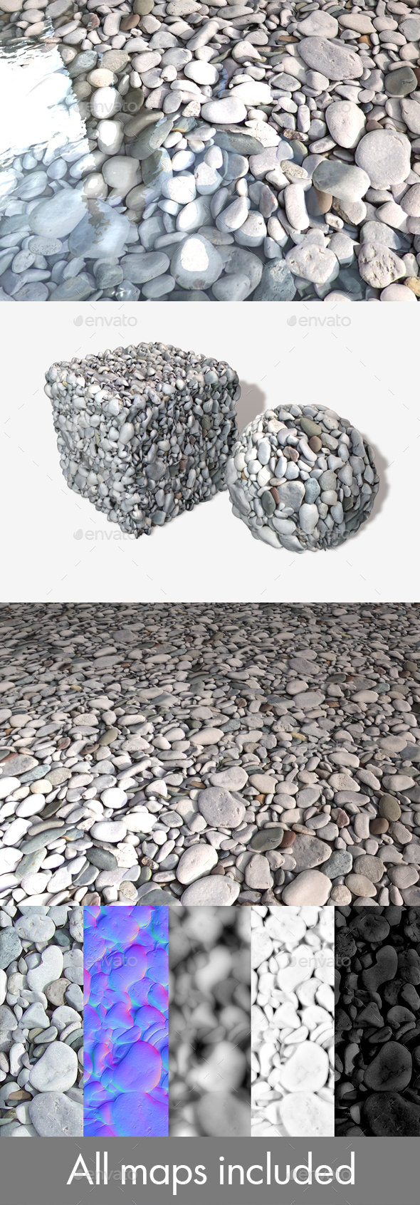 Grey Beach Stones Seamless Texture - 3DOcean Item for Sale