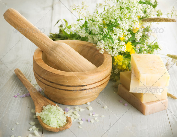 Herbal Cosmetics. Spa Products - Stock Photo - Images