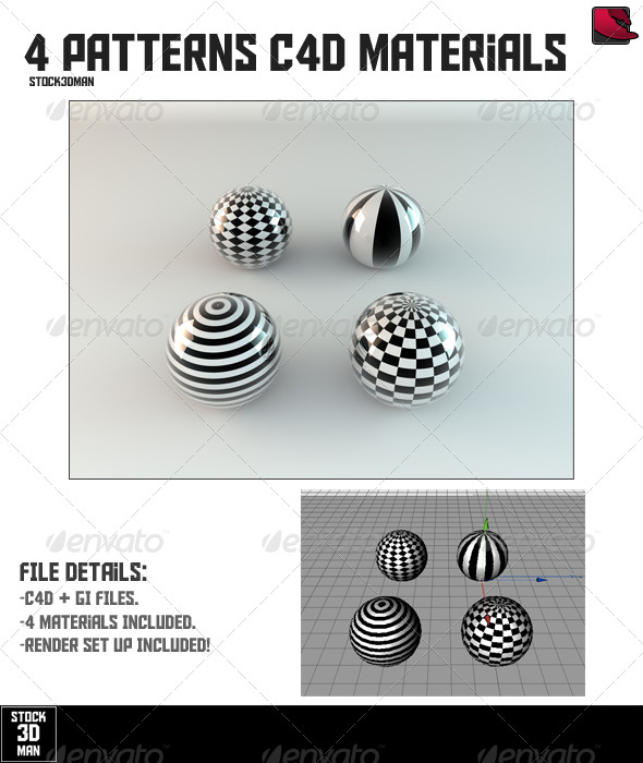 4 Patterns Cinema 4D Materials - 3DOcean Item for Sale