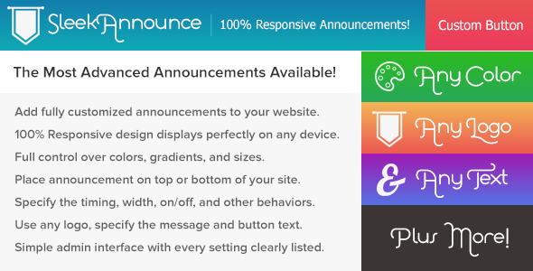 SleekAnnounce Responsive Announcements and Cookie Notifications