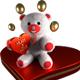 Fuzzy Valentine Bear On Heart