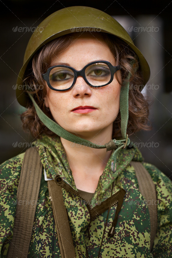 Woman in military uniform - Stock Photo - Images