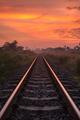Railway Track with Sunrise Scene
