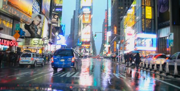 Times Square Rain HD