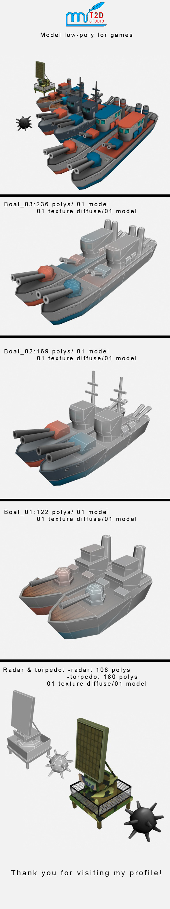 battle ship lowpoly - 3DOcean Item for Sale