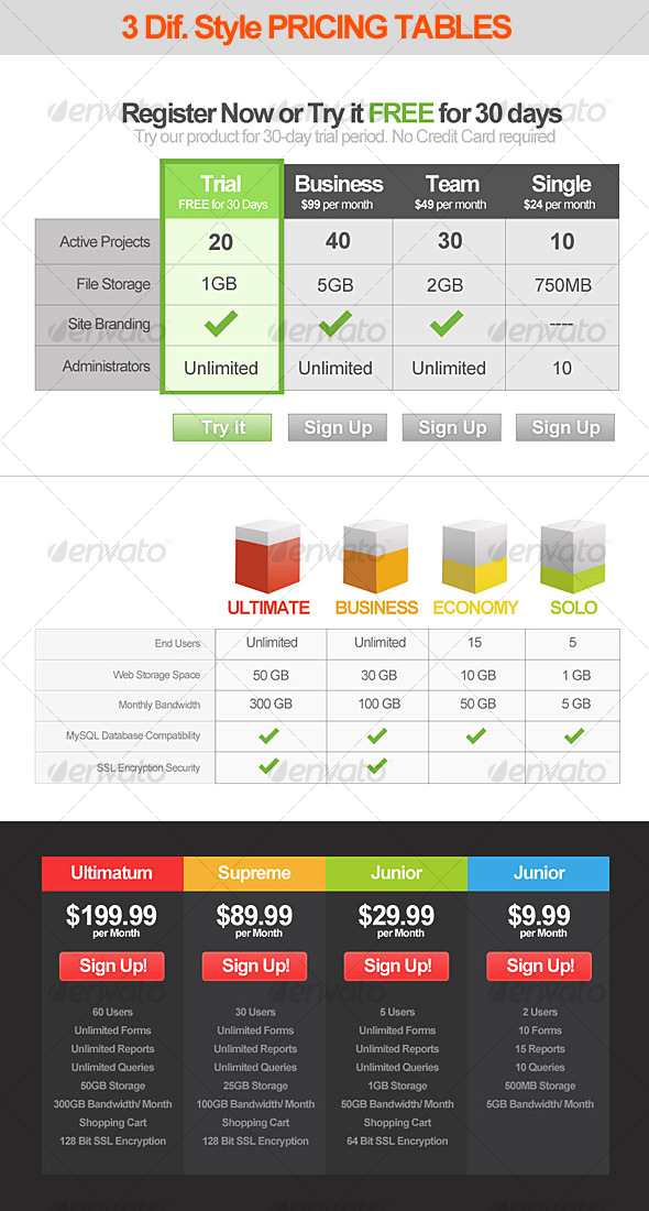 GraphicRiver 3 Style Modern Pricing Table designs 55402