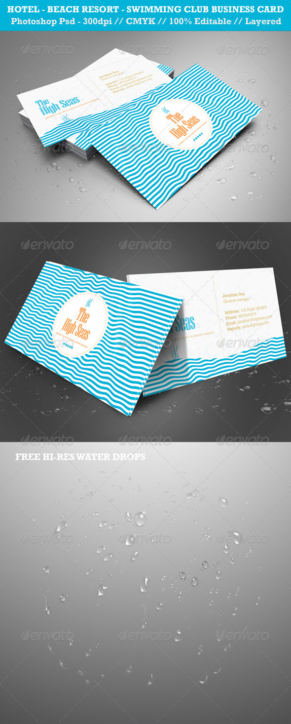 Hotel, Beach Resort, Swimming Club Business Card - Creative Business Cards