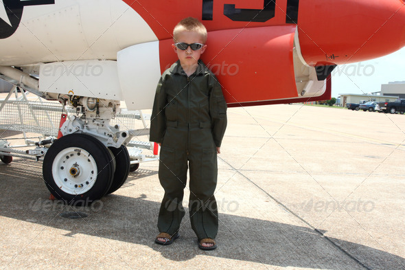 little boy and real jet - Stock Photo - Images