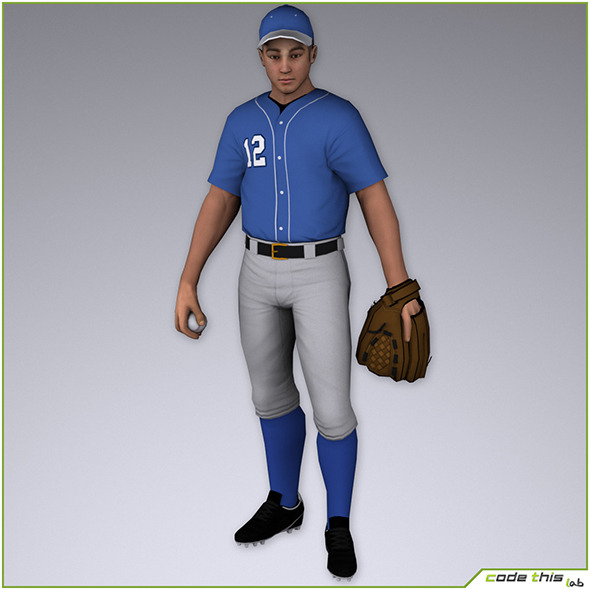 White Baseball Pitcher 8215 tris - 3DOcean Item for Sale