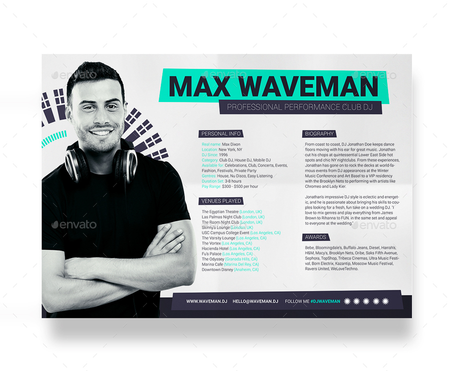 ProDJ DJ Press Kit Rider Resume PSD Template by vinyljunkie – Press Kit Template