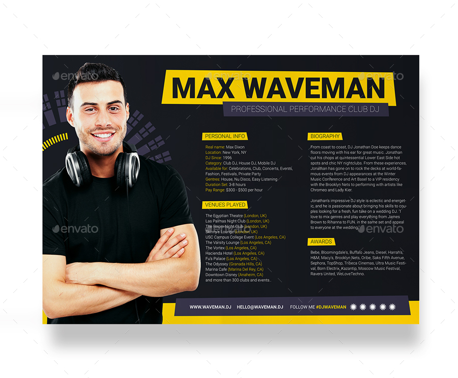 Prodj dj press kit rider resume psd template by for Band epk template