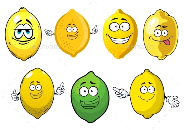 Cartoon Ripe Lemons and Lime Fruits