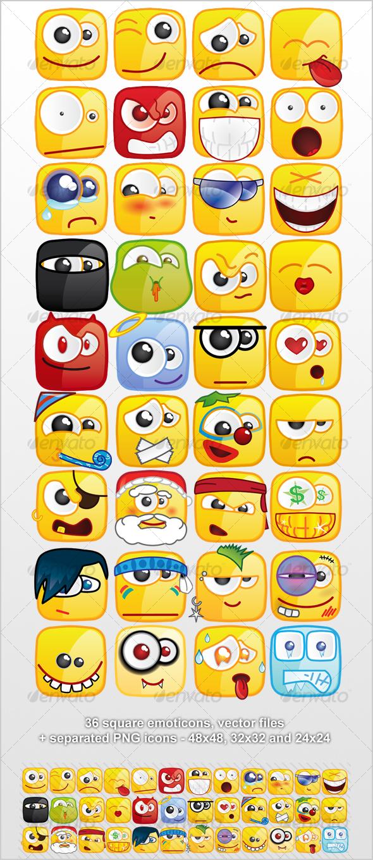 GraphicRiver 36 Square emoticons PACK 55493