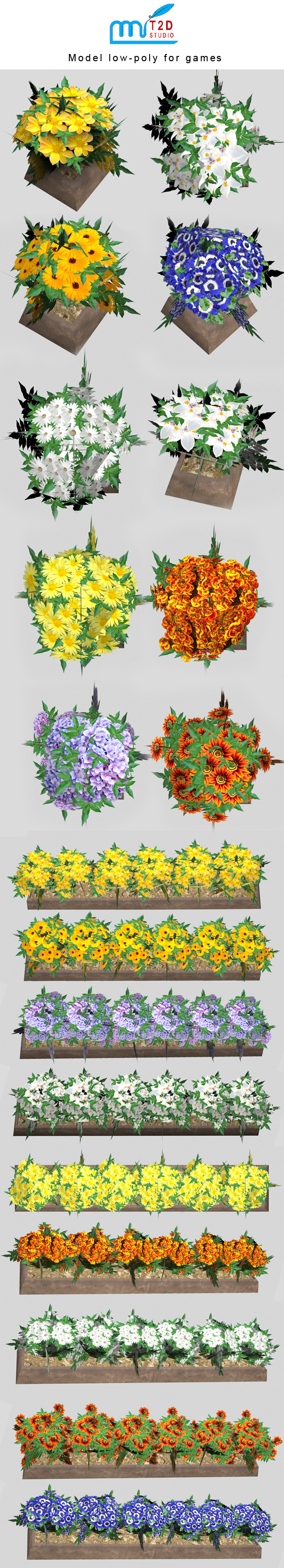 flower low-poly - 3DOcean Item for Sale