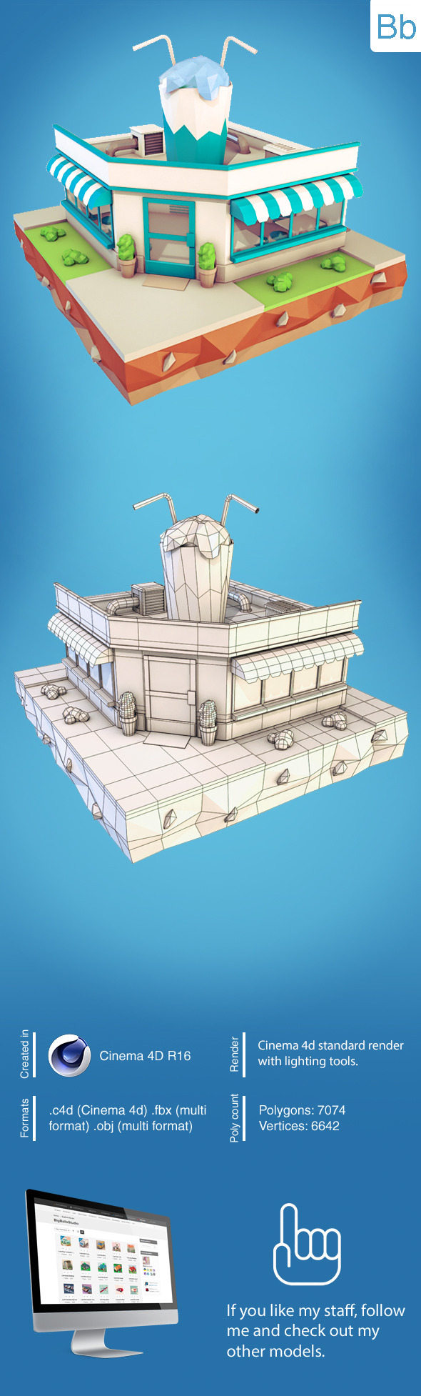 Low Poly Cocktail Cafe - 3DOcean Item for Sale