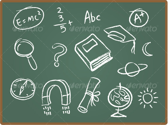 GraphicRiver School Icons on ChalkBoard 1 55512