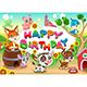 Happy Birthday Card with Farm Animals