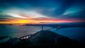 Sunrise at Golden Gate Bridge and city of San Francisco