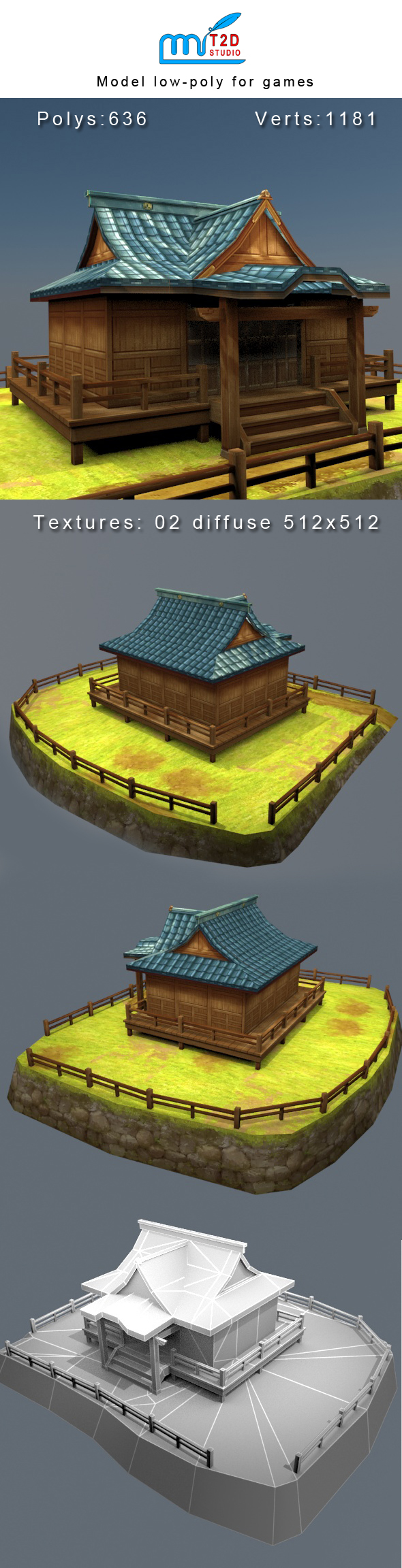 house low-poly for games - 3DOcean Item for Sale