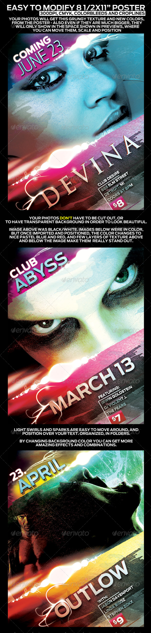 "Poster Design Template in 8.5""x11"" - Easy To Tweak - Clubs & Parties Events"
