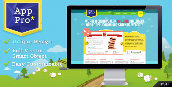 ThemeForest App Pro PSD Template 1077773