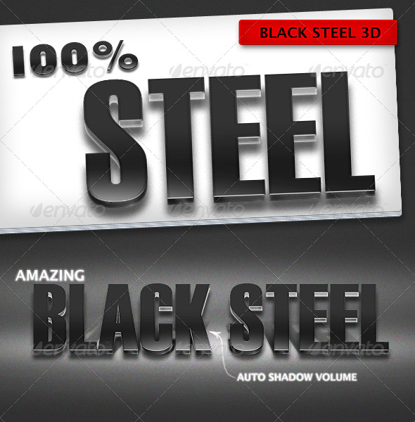 GraphicRiver Black Steel 3D Text Effects 166700