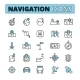 Map Navigation Outlined Icons Set