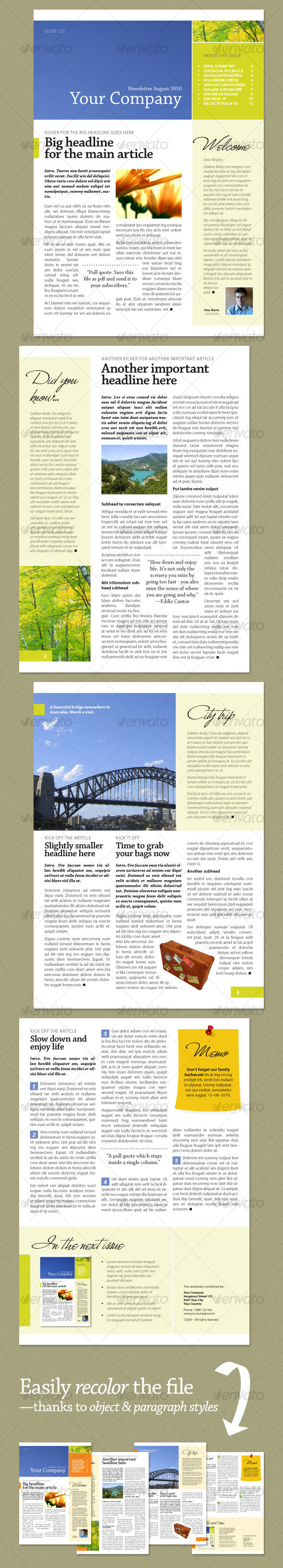 GraphicRiver Newsletter Fresh Green 4 pages 55603