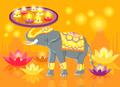 Happy Diwali Elephant Indian Celebrate