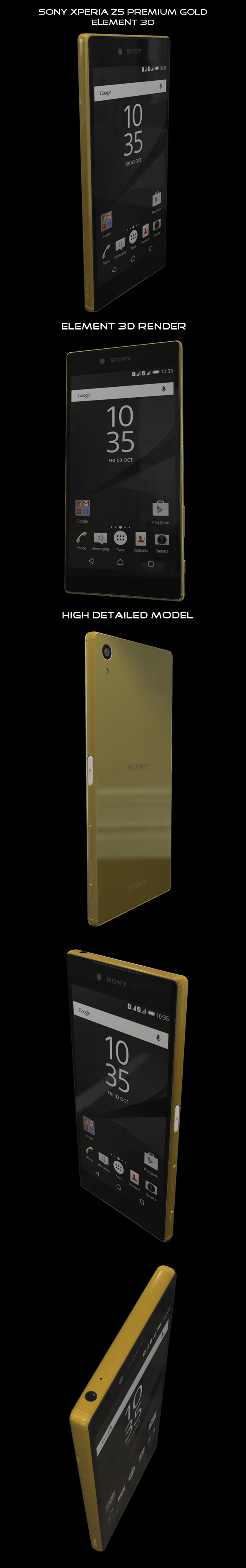 Element3D - Sony Xperia Z5 Premium Gold - 3DOcean Item for Sale