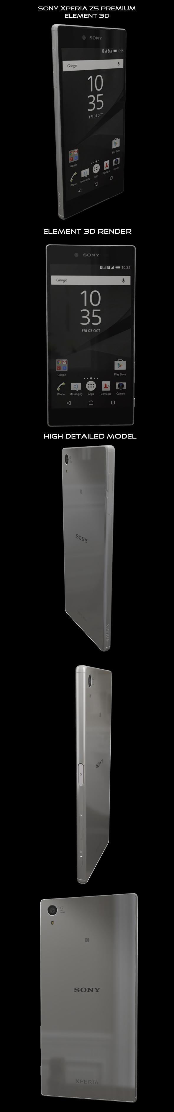 Element3D - Sony Xperia Z5 Premium Chrome - 3DOcean Item for Sale