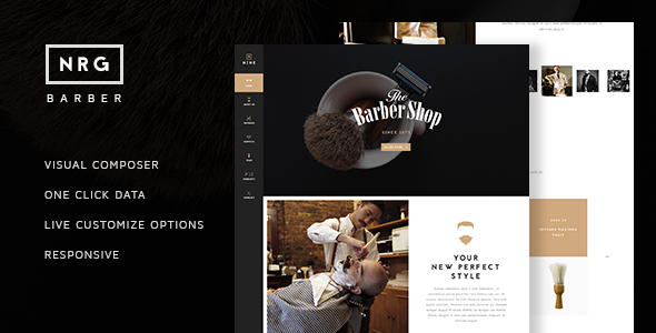 NRG Barber Shop - One Page Theme For Hair Salon