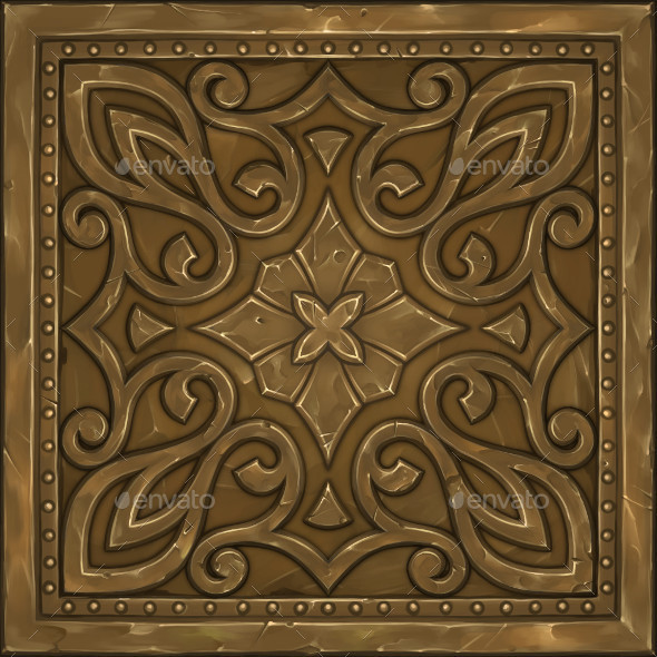 Hand Painted Ornate Panel 05 - 3DOcean Item for Sale