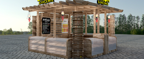 Wooden Kiosk 3D - 3DOcean Item for Sale