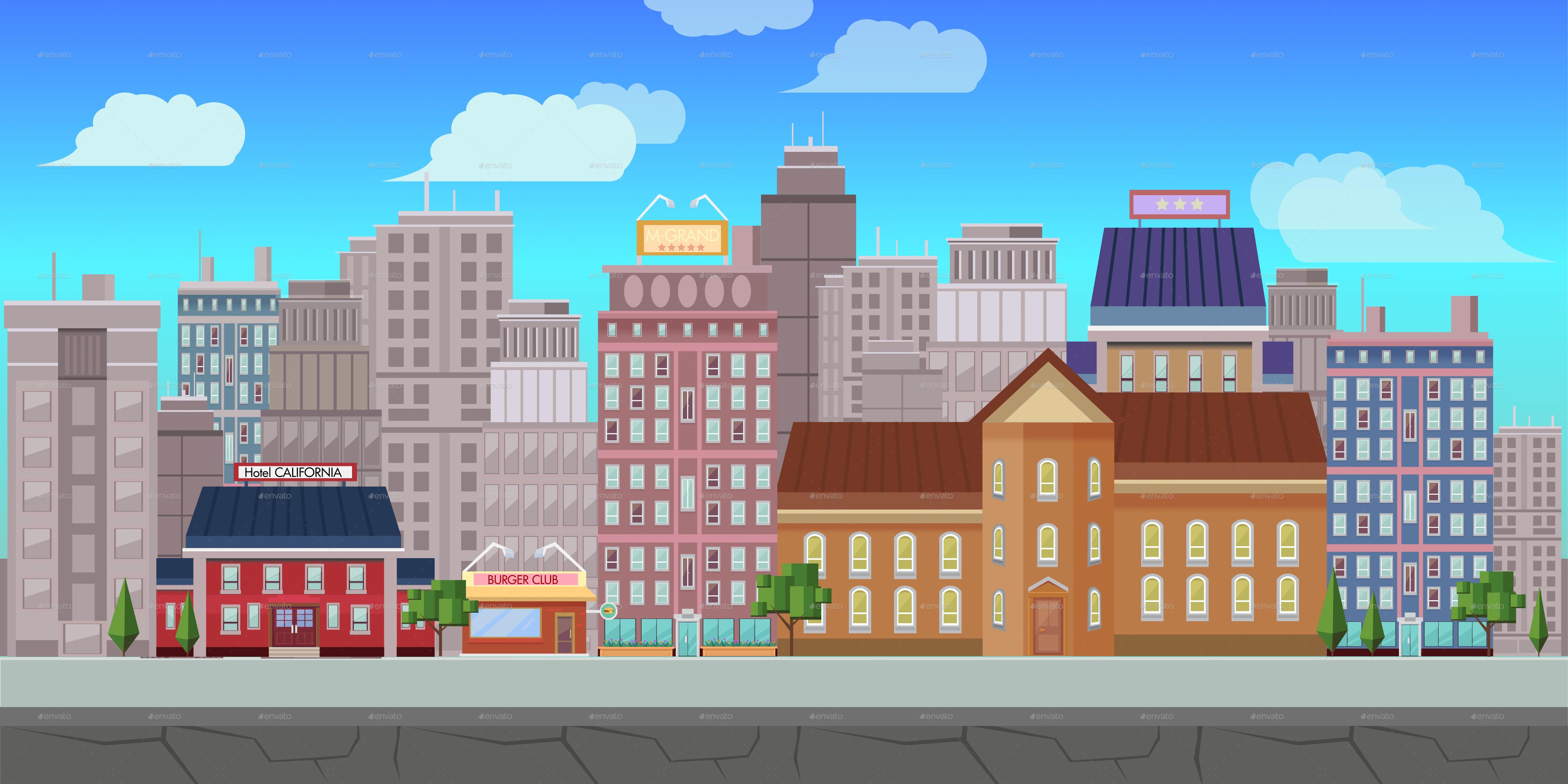 Fancy restaurant building - Fresh City Game Background Vector By Vitaliyvill
