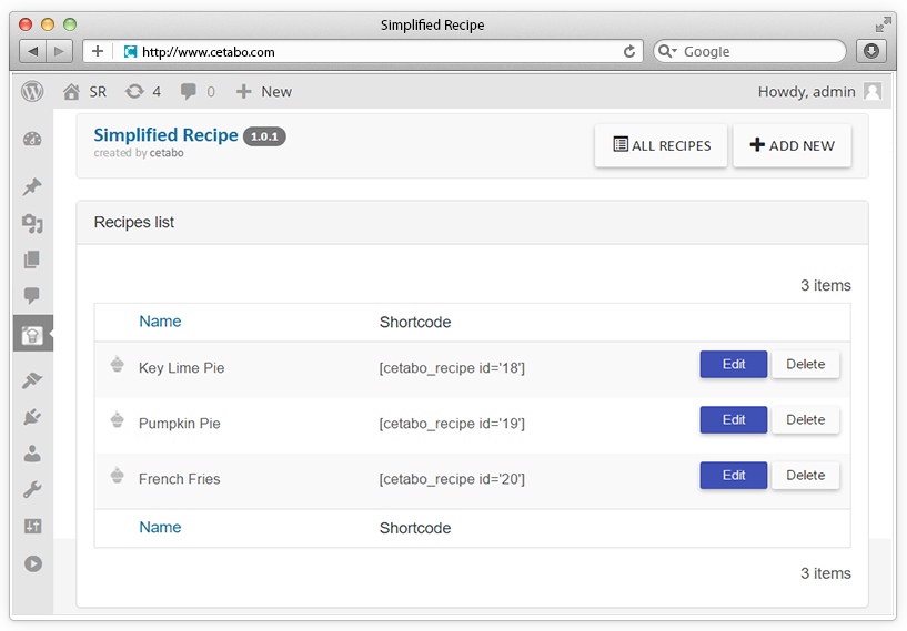 Simplified Recipe for Wordpress