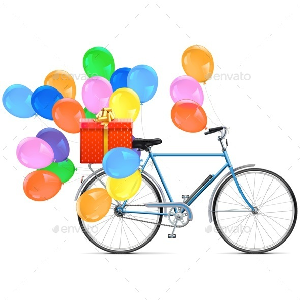 Vector Bicycle with Balloons