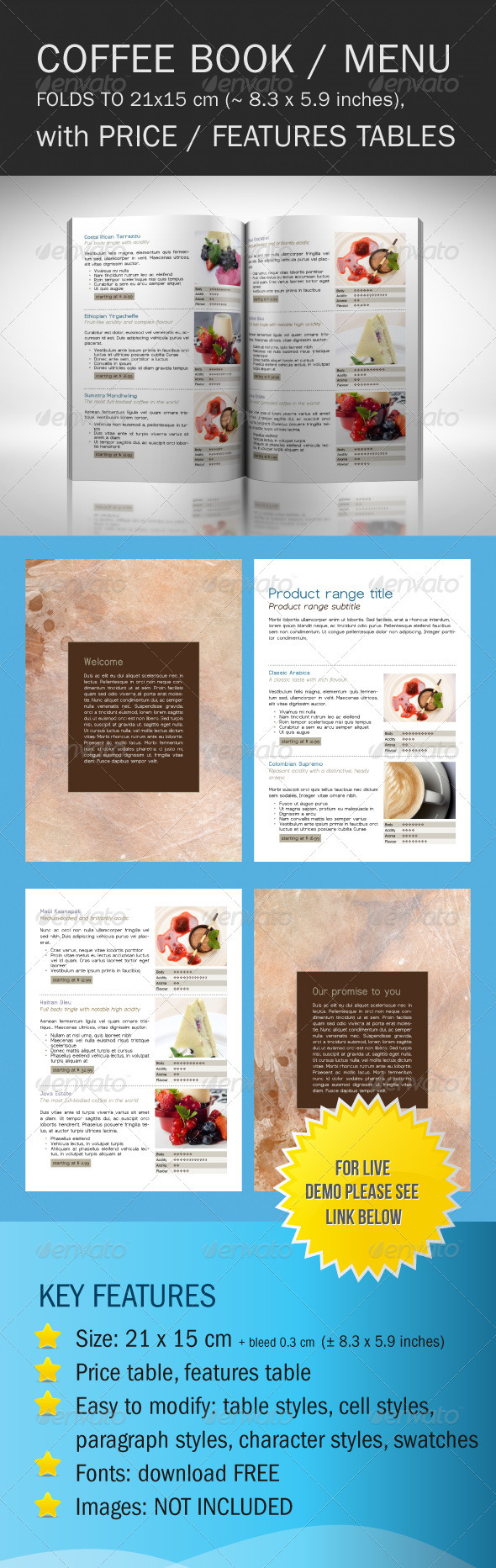 Coffee Shop Catalog - Food Menus Print Templates