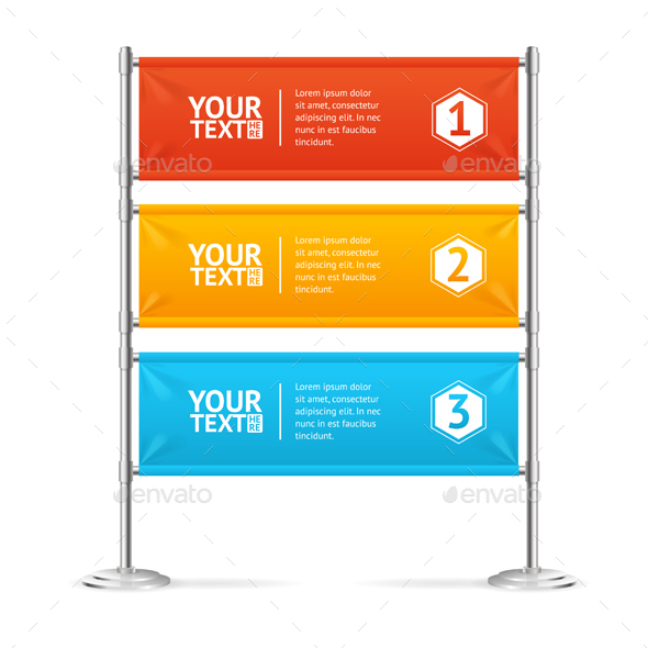 Blank Banner Flags Colorful Horizontal with Text