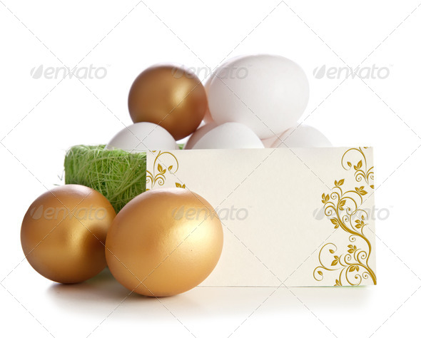 Gold and Simple Eggs - Stock Photo - Images
