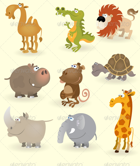 GraphicRiver Wild animals set Africa 1408697