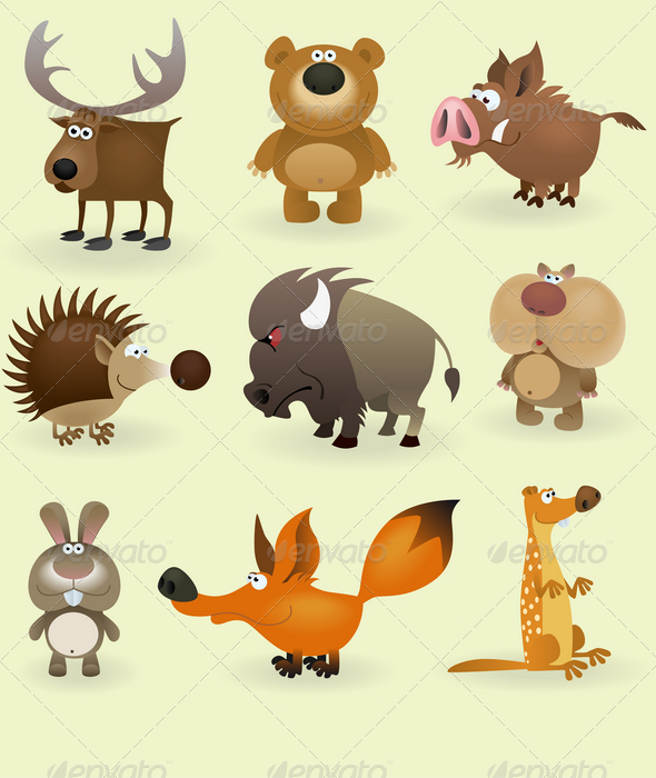 GraphicRiver Wild Animals Set Forest 1408702