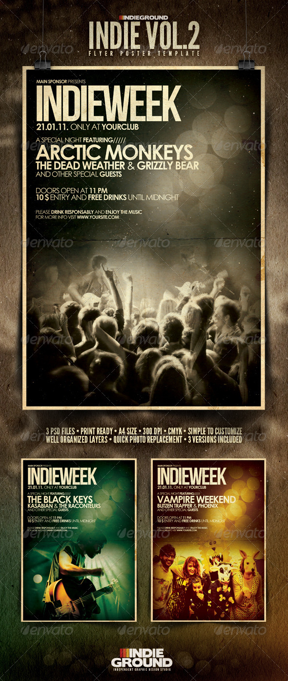 Indie Flyer/Poster Vol. 2 - Concerts Events