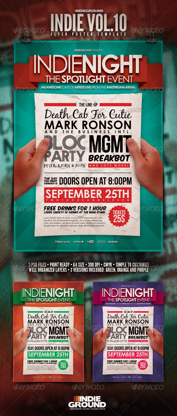Indie Flyer/Poster Vol. 10 - Clubs & Parties Events