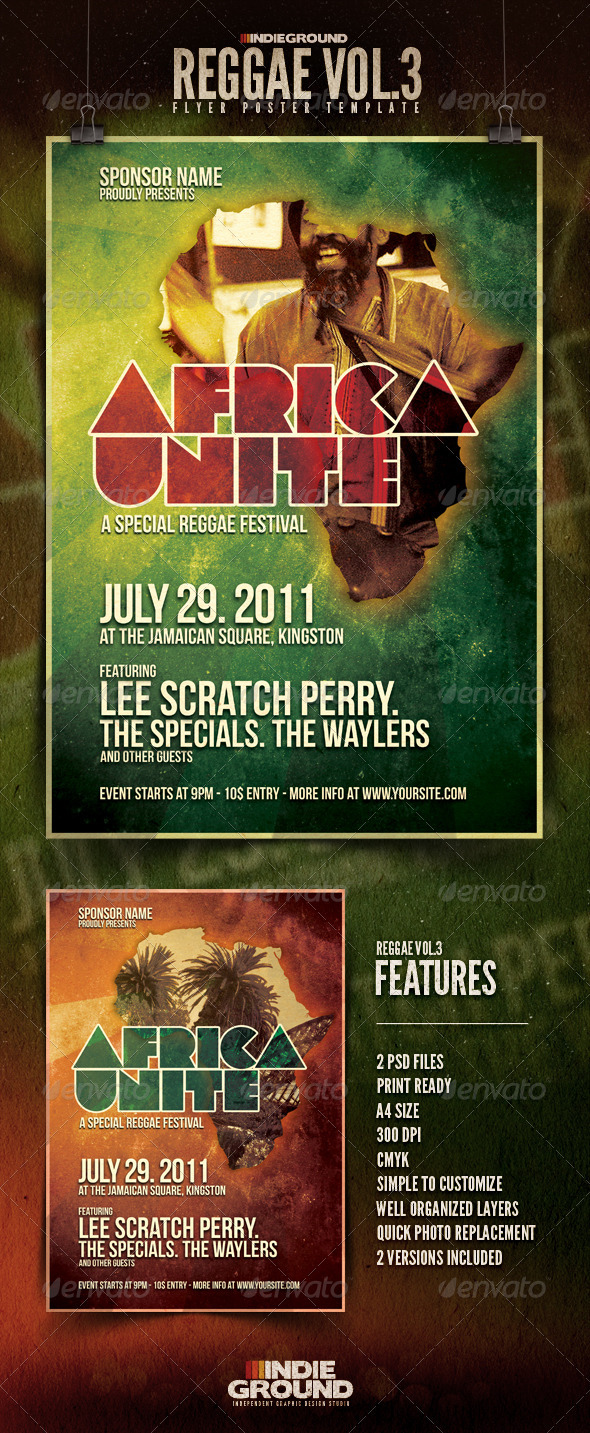 Africa Unite - Reggae Flyer/Poster Vol. 3 - Clubs & Parties Events